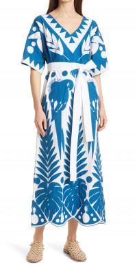 FARM Rio Blue Patchwork Embroidery Cotton Dress