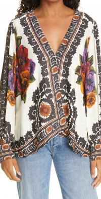 FARM Rio Flower Tapestry Popover Blouse