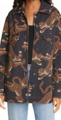 FARM Rio Leopard Print Cotton Jacket