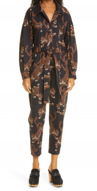 FARM Rio Leopard Print Cotton Jumpsuit