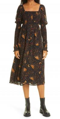 FARM Rio Leopard Sky Long Sleeve Dress