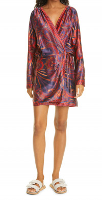 FARM Rio Macaw Arabesque Long Sleeve Minidress