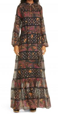 FARM Rio Mix Print Tiered Long Sleeve Dress