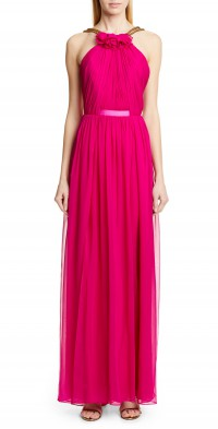 Women's Haney Emeline Halter Silk Chiffon Evening Dress