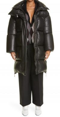 Khaite Leo Leather Down Puffer Coat