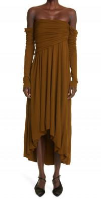 Khaite Nerissa Off the Shoulder Drape Long Sleeve Dress