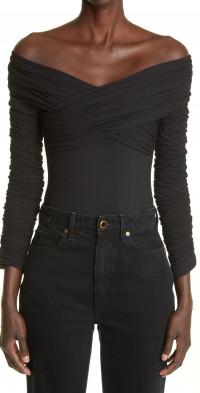 Khaite The Lili Draped Off the Shoulder Stretch Cotton Bodysuit
