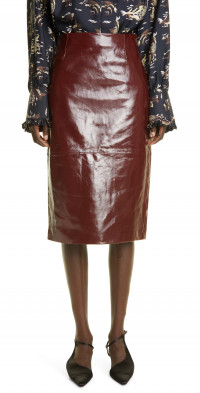 Khaite The May Patent Lambskin Leather Pencil Skirt
