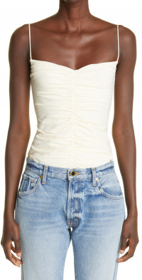 Khaite The Shelly Ruched Stretch Cotton Tank