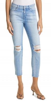 L'AGENCE El Matador Ripped High Waist Crop Skinny Jeans