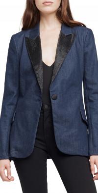L'AGENCE Embellished Denim Blazer