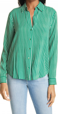 L'AGENCE Holly Stripe Button-Up Shirt