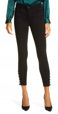 L'AGENCE Lindsey Crystal Button High Waist Ankle Skinny Jeans
