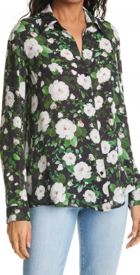 L'AGENCE Nina Floral Long Sleeve Silk Button-Up Blouse