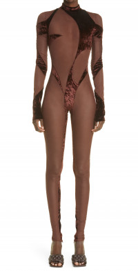 LaQuan Smith Abstract Panel Sheer Catsuit