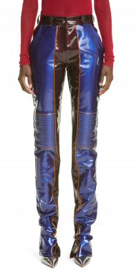 LaQuan Smith Bicolor PVC Moto Pants