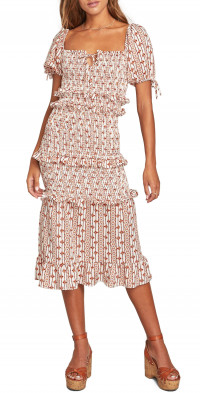 Lost + Wander Someplace Tropical Ruffle Trim Smocked Midi Dress