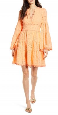 Lost + Wander Talia Eyelet Long Sleeve A-Line Dress