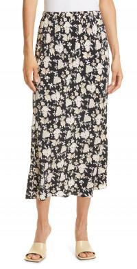 LoveShackFancy Aimee Floral Silk Skirt