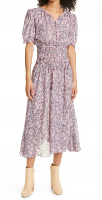 LoveShackFancy Areli Floral Print Smocked Midi Dress