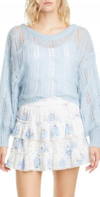 LoveShackFancy Eugenia Wool & Mohair Blend Pointelle Sweater