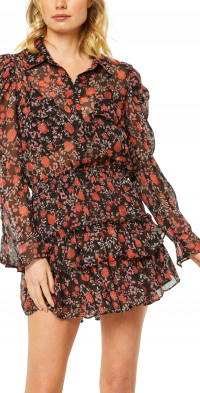 MISA Los Angeles Anika Long Sleeve Chiffon Minidress