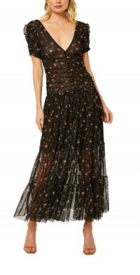 MISA Los Angeles Rebecca Floral Mesh Dress