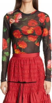 Women's Molly Goddard Freddie Floral Print Mesh T-Shirt