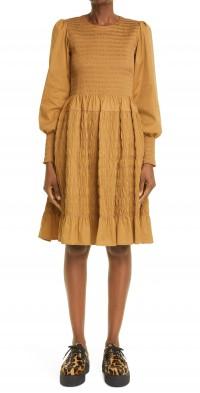 Women's Molly Goddard Tatiana Shirred Long Sleeve Midi Dress