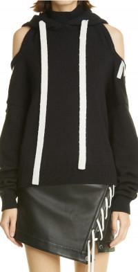 MONSE Halter Neck Cold Shoulder Wool Knit Hoodie