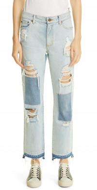 MONSE Rip & Repair Straight Leg Denim Jeans