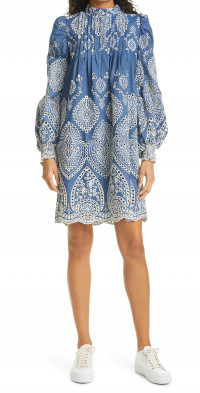 MUNTHE Tepic Embroidered Eyelet Long Sleeve Cotton Shift Dress