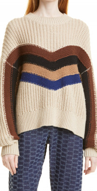 Women's Munthe Row Chevron Stripe Organic Cotton Blend Sweater