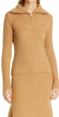 Nanushka Ryo Rib Quarter Zip Sweater