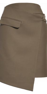 Peter Do Tuxedo Virgin Wool Blend Faux Wrap Skirt