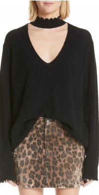 R13 High Waist Leopard Print Distressed Denim Mini Skirt