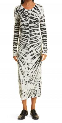 Raquel Allegra Long Sleeve Tie Dye Jersey Midi Dress