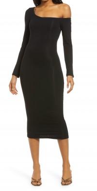 Women's Re Ona One-Shoulder Long Sleeve Midi Dress
