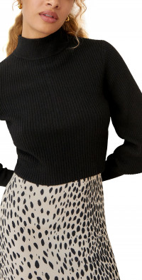 Reformation Kieran Cashmere Button Back Mock Neck Sweater