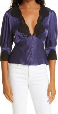 Women's Rixo Crystal Satin & Lace Bias Skirt