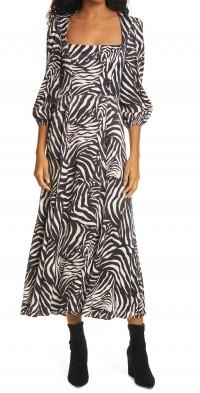 Women's Rixo Mara Zebra Print Midi Dress
