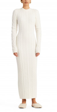 Ronny Kobo Eire Cable Knit Open Back Maxi Sweater Dress