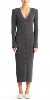 Ronny Kobo Vianne Knit Button Front Midi Dress