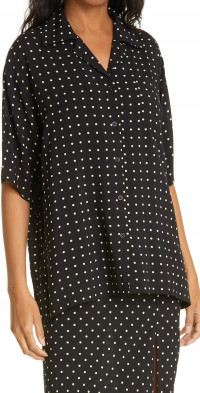 ROTATE Polka Dot Short Sleeve Button-Up Shirt