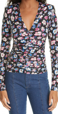ROTATE Sierra Floral Ruched Long Sleeve Top