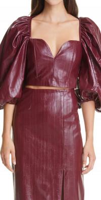 Women's Rotate Irina Faux Leather Crop Top