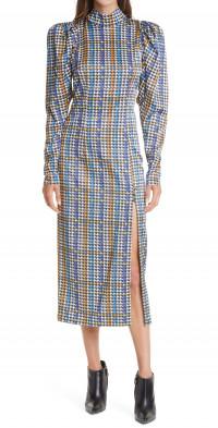 Women's Rotate Theresa Houndstooth Check Long Sleeve Satin Dress