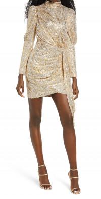Saylor Bianca Gold Foiled Sequin Long Sleeve Minidress