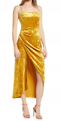 Saylor Cyndey Crushed Velvet Cocktail Midi Dress