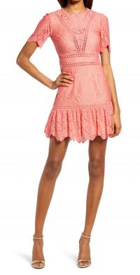 Saylor Darian Crochet Lace Cutout Back Dress